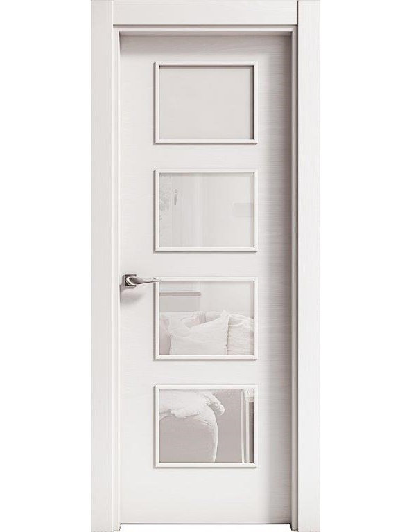 Puerta PRAGA LISA T 4 vidrios Roble TINTE 2200